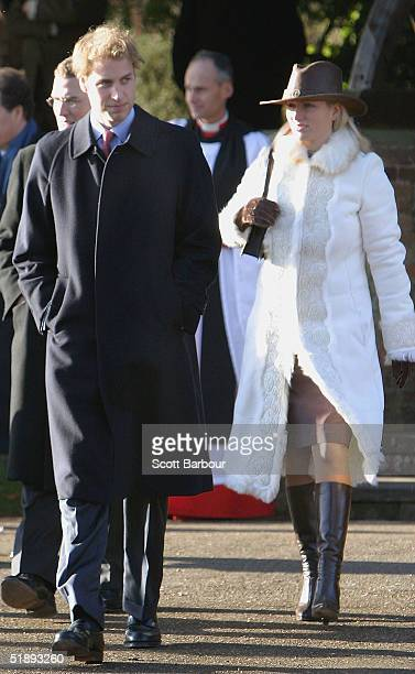 Britain's Prince William and Zara Phillips leave after attending the Christmas Day service at Sandringham Church King's Lynn on December 25 2004 in...