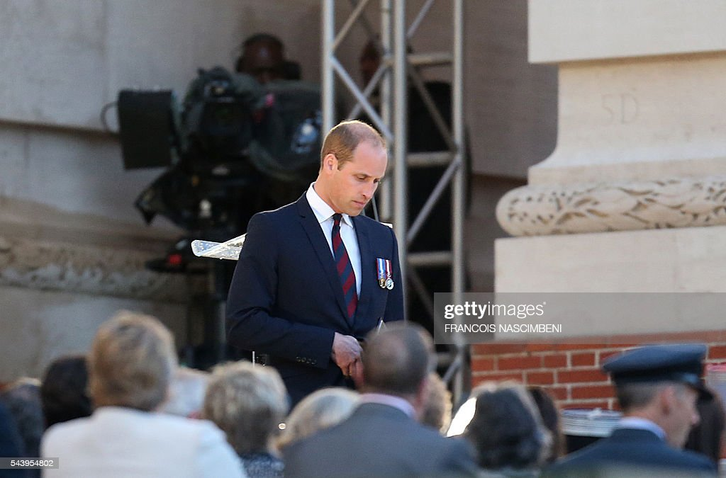 Britain's Prince William delivers a speech during the commemoration of the 100th anniversary of the Battle of the Somme, the deadliest battle in British history in which 20,000 men died on the first day of combat alone, on June 30, 2016 at the Thiepval Memorial, northern France. / AFP / FRANCOIS