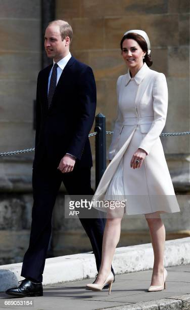 Britain's Prince William Duke of Cambridge and Britain's Catherine Duchess of Cambridge arrive to attend the Easter Sunday service at St George's...