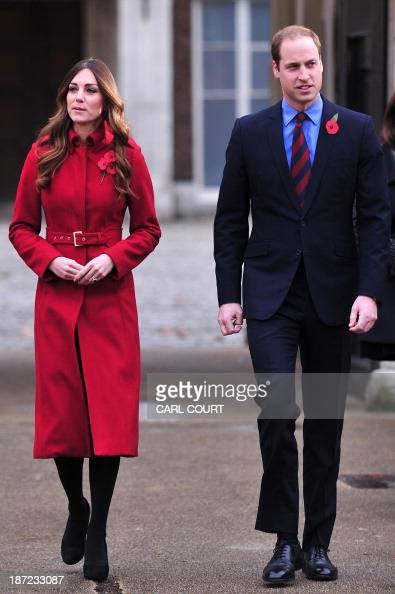 Britain's Prince William Duke of Cambridge and Catherine Duchess of Cambridge prepare to meet staff and volunteers from the Royal British Legions...