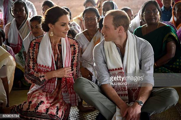 Britain's Prince William Duke of Cambridge and Catherine Duchess of Cambridge visit a 'Namghar' an Assamese site of congregational worship in Panbari...