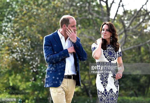Britain's Prince William Duke of Cambridge and Catherine Middleton Duchess of Cambridge during their visit at Taj Mahal on April 16 2016 in Agra India