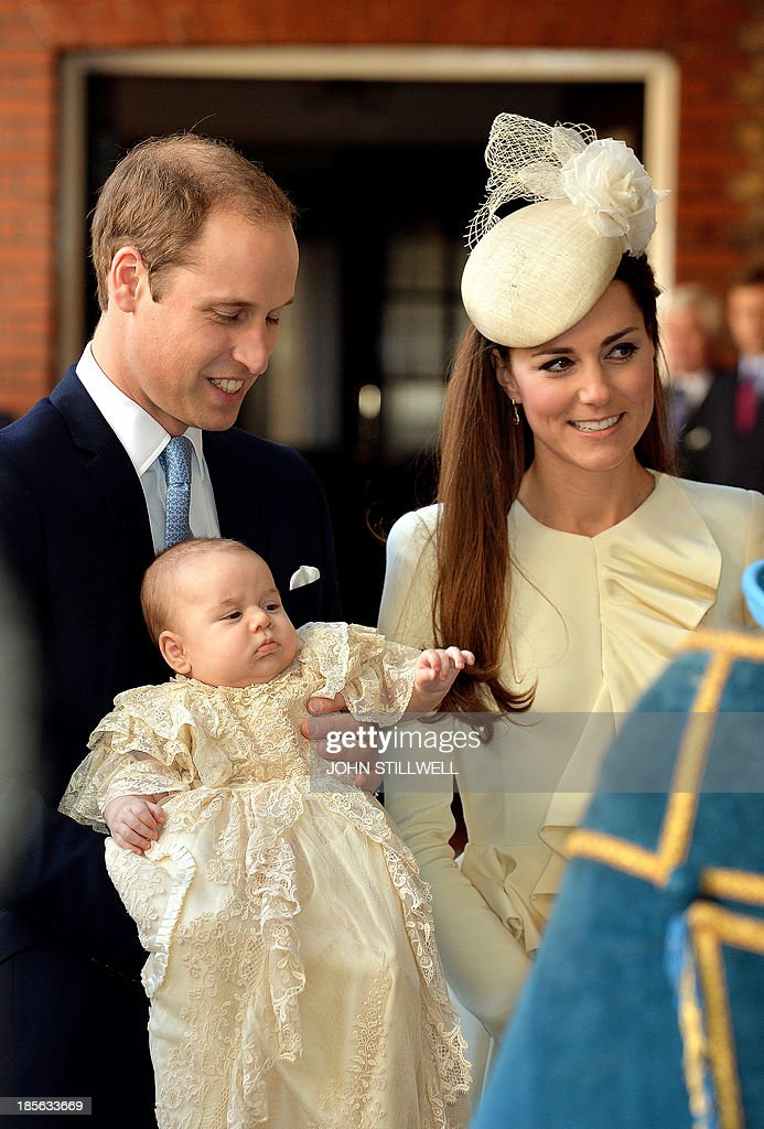 Britain's Prince William, Duke of Cambridge and his wife Catherine, Duchess of Cambridge, arrive with their son Prince George of Cambridge at Chapel Royal in St James's Palace in central London on October 23, 2013, ahead of the christening of the three month-old prince. Prince William and his wife Catherine gather close friends and family on Wednesday for the christening of their baby son Prince George, in a low-key ceremony far removed from the global hype surrounding their wedding.