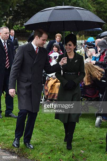 Britain's Prince William Duke of Cambridge and his wife Catherine Duchess of Cambridge attend a traditional Christmas Day Church Service at...