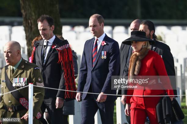 Britain's Prince William Duke of Cambridge and Princess Astrid of Belgium attends the commemoration of the WWI Battle of Passchendaele on October 12...