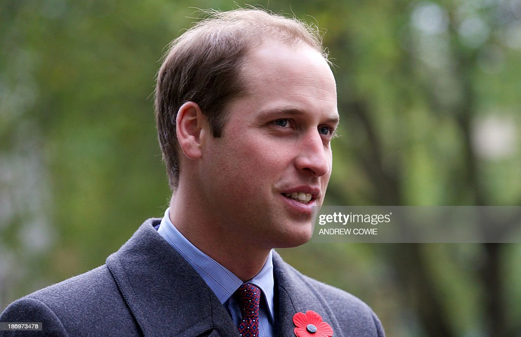 Britain's Prince William Duke of Cambridge arrives at turfcutting ceremony for a new Korean War Memorial at Victoria Embankment Gardens in central...