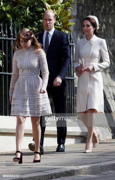 Britain's Prince William Duke of Cambridge Catherine Duchess of Cambridge and Princess Beatrice of York arrive to attend the Easter Sunday service at...