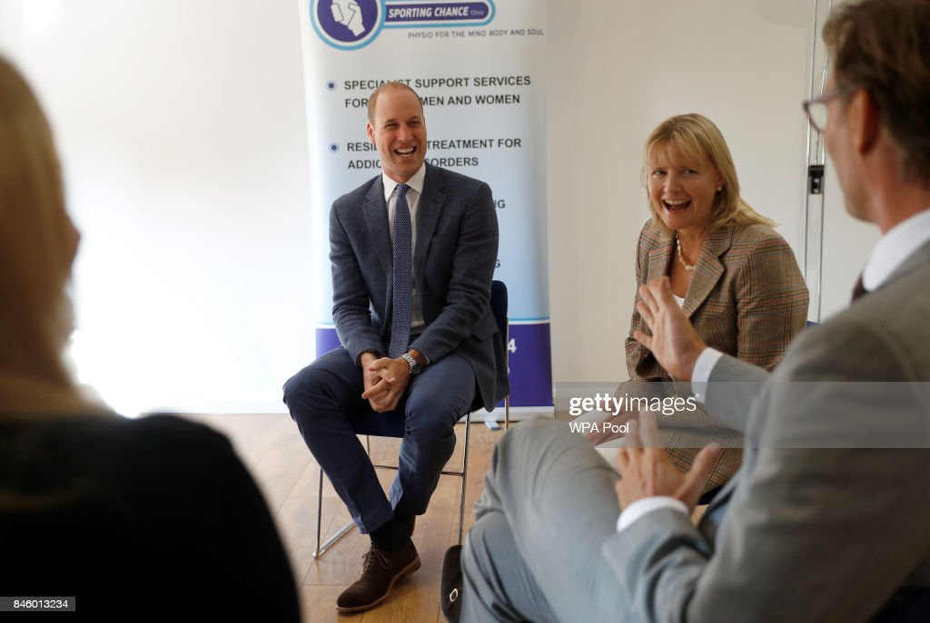 Britain's Prince William, Duke of Cambridge discusses cases of non-recent sexual abuse on sportsmen, with staff at the charity Sporting Chances residential centre on September 12, 2017 in Liphook, United Kingdom.