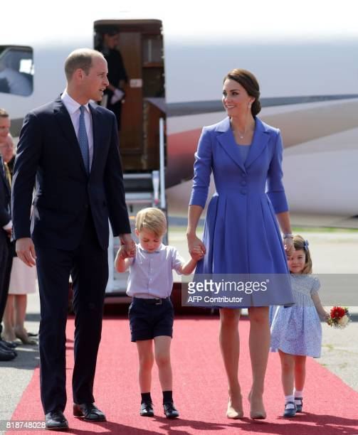 Britain's Prince William Duke of Cambridge his wife Kate the Duchess of Cambridge with their children Prince George and Princess Charlotte arrive at...
