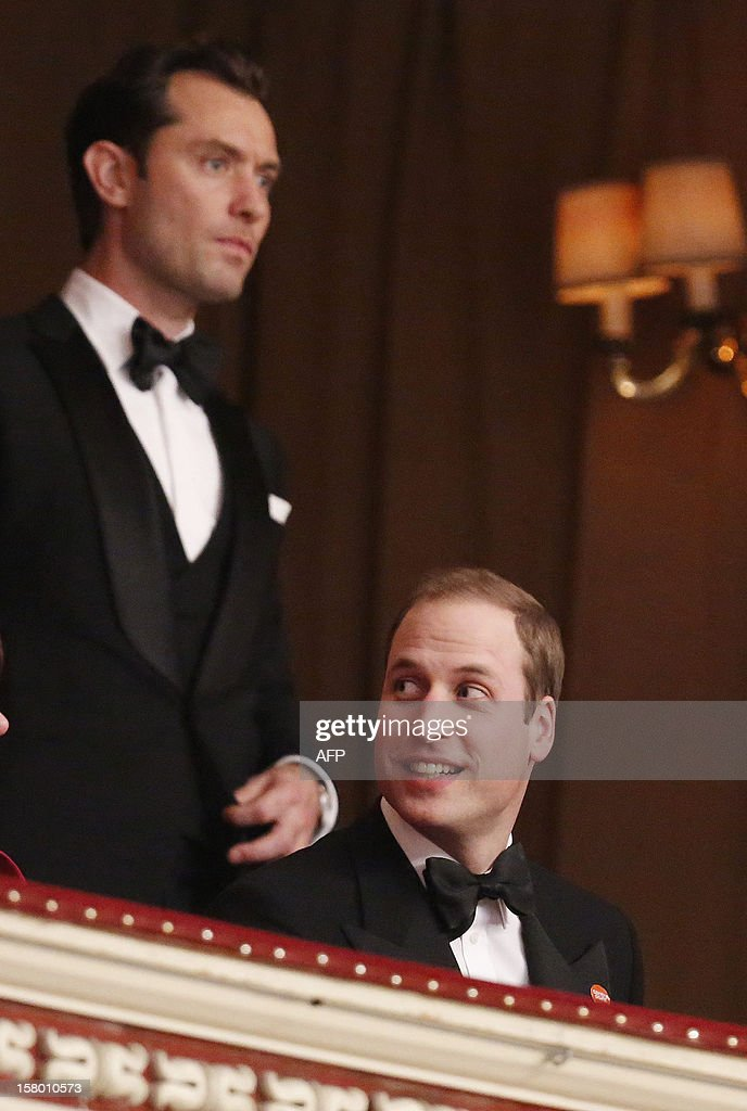 Britain's Prince William, Duke of Cambridge (R) is joined by British actor Jude Law in the Royal Box at the Winter Whites Gala in aid of the Centrepoint charity at the Royal Albert Hall in central London on December 8, 2012. The Prince attended the gala in aid of the charity of which he is patron. The London hospital that treated Prince William's pregnant wife Catherine and where a nurse was found dead after being hoaxed by an Australian radio show on Saturday wrote to the station condemning the 'truly appalling' stunt.