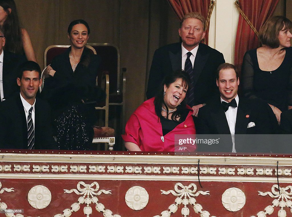 Britain's Prince William, Duke of Cambridge (R) is joined by world number one tennis player, Serbia's Novak Djokovic (L), former player Boris Becker (top row, 2nd R), his wife Lily and Centrepoint trustee Danielle Alexandra in the Royal Box at the Winter Whites Gala in aid of the Centrepoint charity at the Royal Albert Hall in central London on December 8, 2012. The Prince attended the gala in aid of the charity of which he is patron. The London hospital that treated Prince William's pregnant wife Catherine and where a nurse was found dead after being hoaxed by an Australian radio show on Saturday wrote to the station condemning the 'truly appalling' stunt. AFP PHOTO / POOL / LUKE MACGREGOR