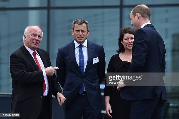 Britain's Prince William Duke of Cambridge is met by Chairman of the FA Greg Dyke Chief Executive Officer of the FA Martin Glenn and Wembley Stadium...