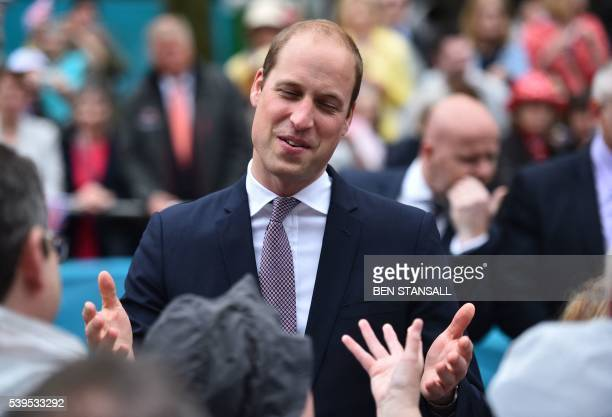 Britain's Prince William Duke of Cambridge meets guests at the Patron's Lunch a special street party outside Buckingham Palace in London on June 12...