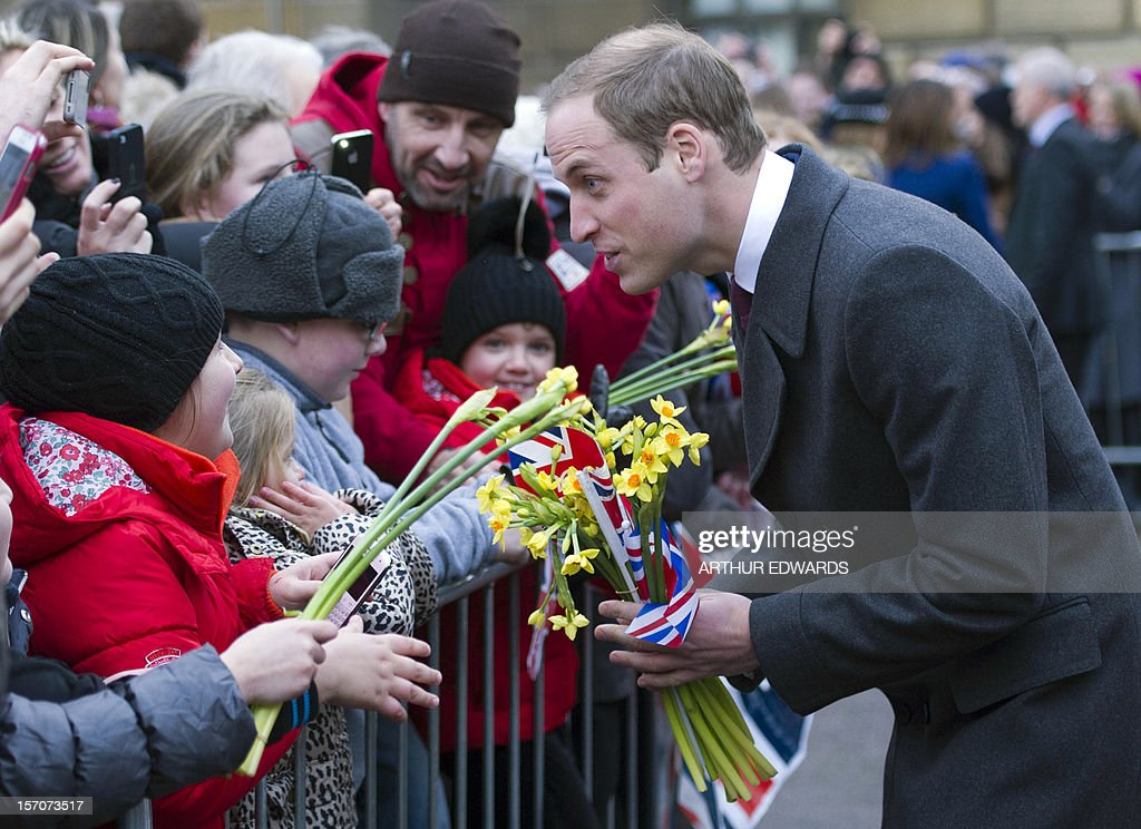 Britain's Prince William, Duke of Cambridge, meets well-wishers during his visit to Cambridge, north of London, on November 28, 2012. Britain's Prince William and his wife Catherine visited the university city that is home to their dukedom on November 28 for the first time since they were given their official titles.