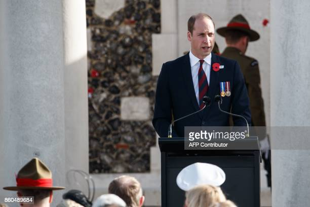 Britain's Prince William Duke of Cambridge speaks during a commemoration at the Tyne Cot Commonwealth War Graves Cemetery for the centenary of...