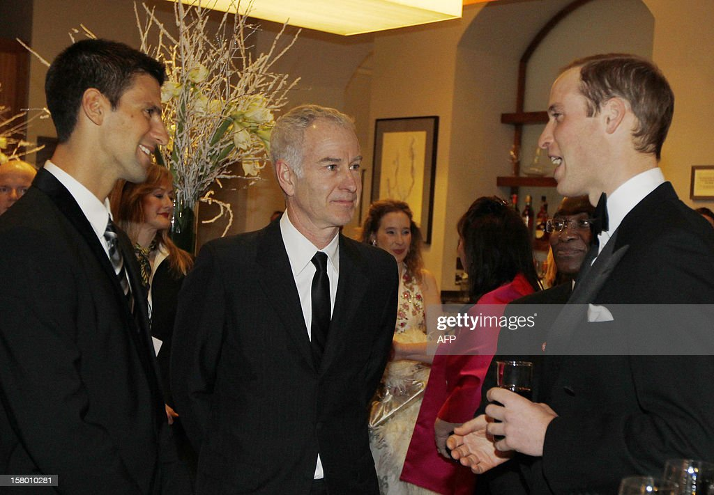 Britain's Prince William, Duke of Cambridge (R) speaks with world number one tennis player, Serbia's Novak Djokovic (L) and former player John McEnroe (2nd L), at the Winter Whites Gala in aid of the Centrepoint charity at the Royal Albert Hall in central London on December 8, 2012. The Prince attended the gala in aid of the charity of which he is patron. The London hospital that treated Prince William's pregnant wife Catherine and where a nurse was found dead after being hoaxed by an Australian radio show on Saturday wrote to the station condemning the 'truly appalling' stunt.