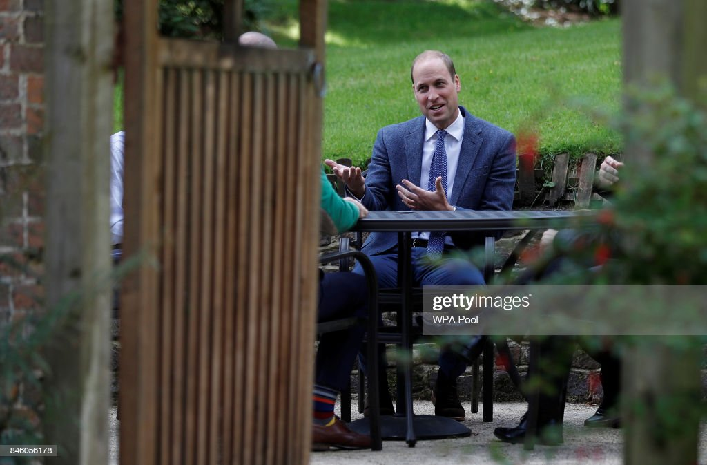 Britain's Prince William, Duke of Cambridge talks with survivors of non-recent sexual abuse at the residential centre of the charity, Sporting Chances on September 12, 2017 in Liphook, United Kingdom.