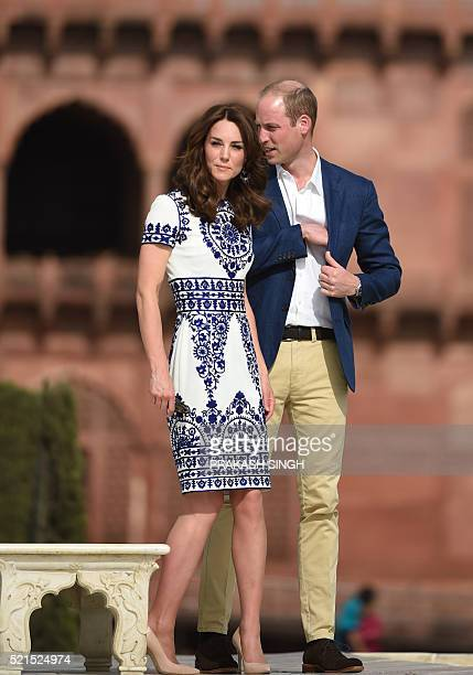 Britain's Prince William Duke of Cambridgeand Catherine Duchess of Cambridge walk during their visit to The Taj Mahal in Agra on April 16 2016 Prince...