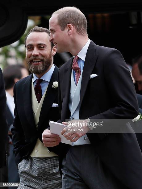 Britain's Prince William right talks to James Middleton after the wedding of Pippa Middleton and James Matthews at St Mark's Church on May 20 2017 in...