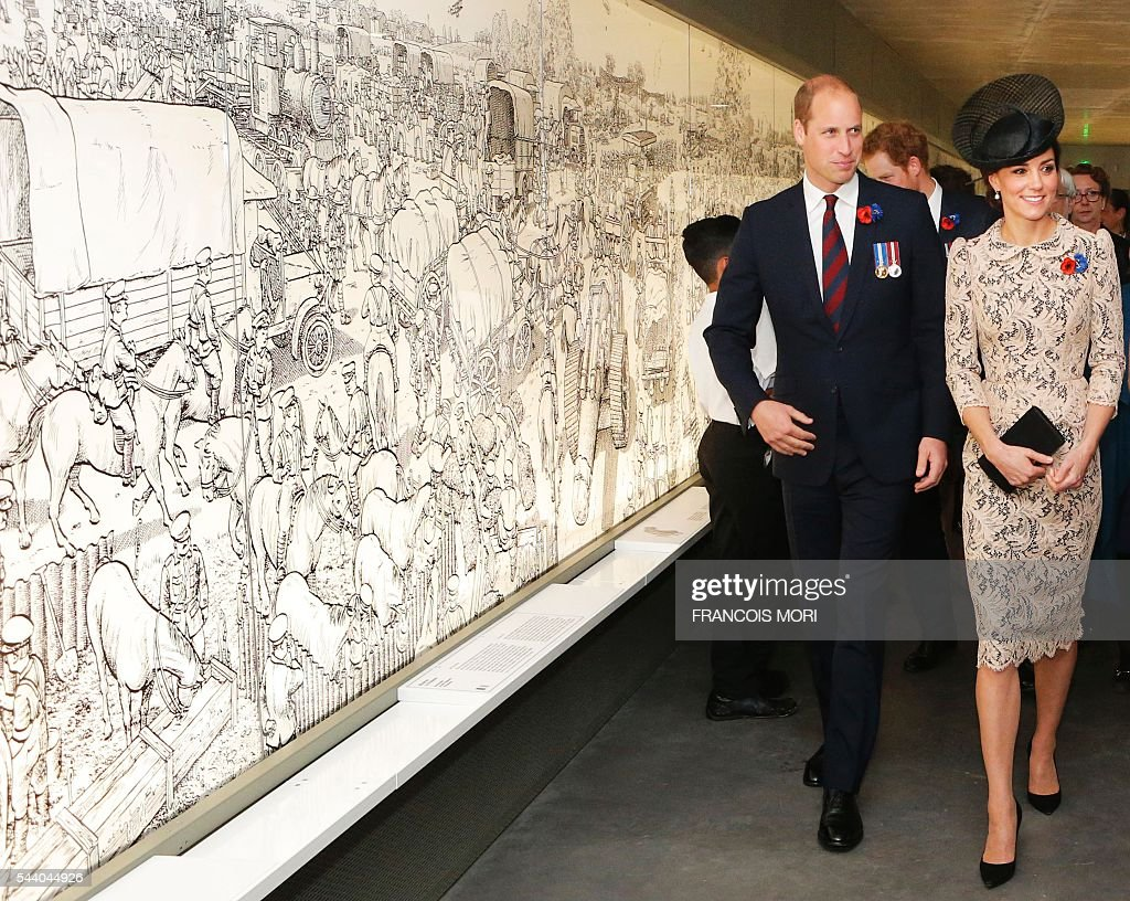 Britain's Prince William, the Duke of Cambridge (R), and his wife Kate, the Duchess of Cambridge, visit the World War I Thiepval monument northern France, on July 1, 2016, during the Somme battle's centenary commemorations. One week after Britain's vote to leave the European Union, Prime Minister David Cameron and royal family members will stand side-by-side with France's President to celebrate their historic alliance at the centenary of the deadliest battle of World War I. / AFP / POOL / Francois Mori