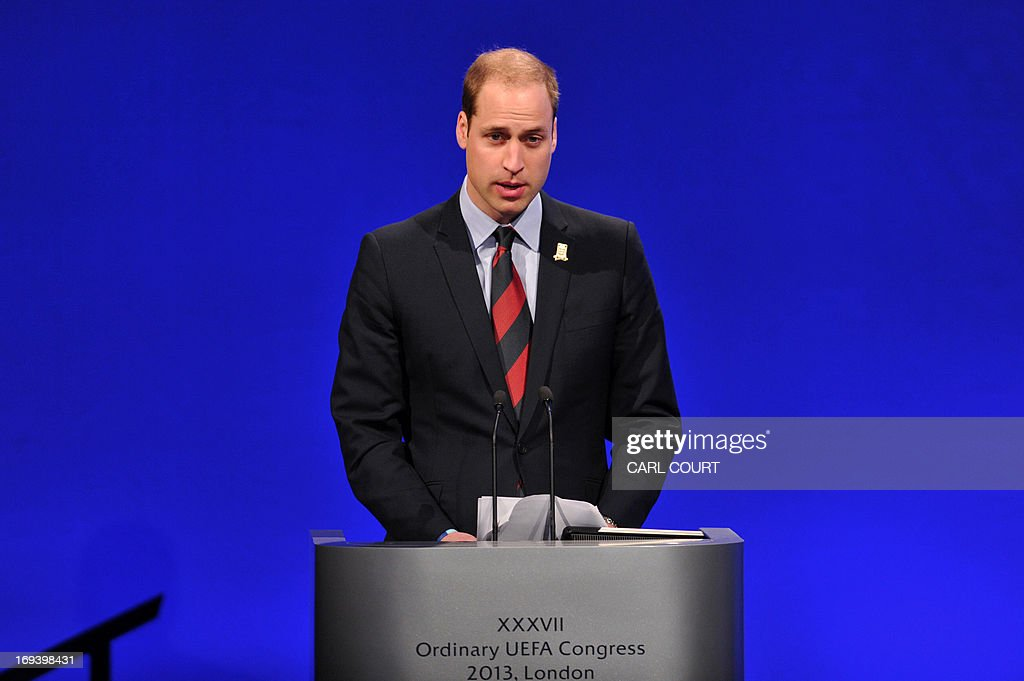 Britain's Prince William, the Duke of Cambridge speaks during the UEFA Congress in central London on May 24, 2013. Speaking at the UEFA congress UEFA President Michel Platini identified the three main problems facing the game as match-fixing, discrimination and financial excesses.