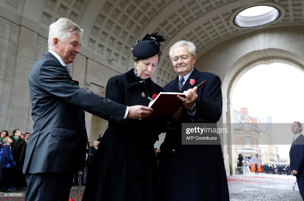 Britain's Princess Anne (C) attends the Last Post ceremony at the Commonwealth War Graves Commission of the Ypres Memorial at the Menenpoort (Menin Gate) in Ieper - Ypres, on November 11, 2017 as part of the Armistice Day commemorations marking the end of WWI (World War I). / AFP PHOTO / BELGA / NICOLAS MAETERLINCK / Belgium OUT