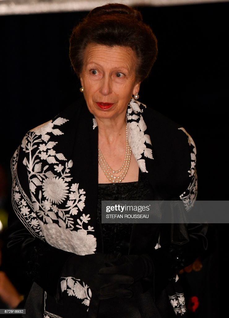 Britain's Princess Anne, Princess Royal, arrives for the the annual Royal Festival of Remembrance at the Royal Albert Hall in London on November 11, 2017 on Armistice Day. The Queen, accompanied by His Royal Highness The Duke of Edinburgh and other members of the Royal Family attended the annual Royal Festival of Remembrance at the Royal Albert Hall. The anniversary of Armistice Day, November 11, 1918, is marked in Britain with a number of events and acts of remembrance to honour those who fell in the two World Wars and subsequent conflicts. The red poppy is worn to symbolise the poppies which grew on French and Belgian battlefields during World War I. / AFP PHOTO / POOL / Stefan Rousseau