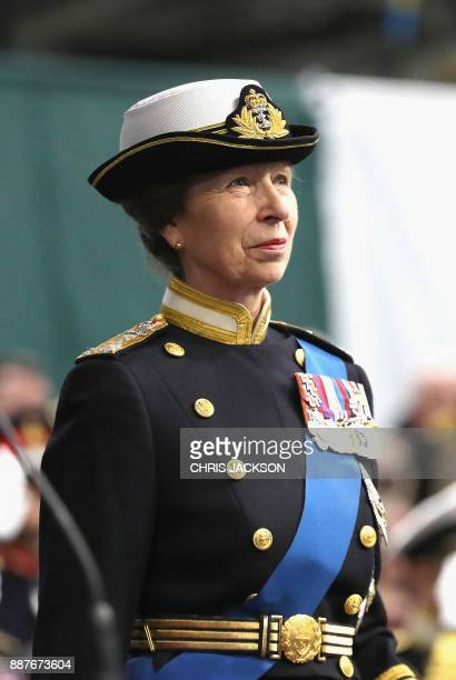 Britain's Princess Anne Princess Royal attends the Commissioning Ceremony for the Royal Navy aircraft carrier HMS Queen Elizabeth on board the ship...