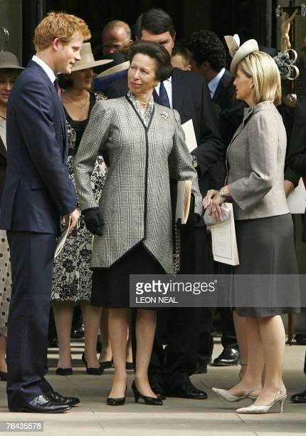 Britain's Princess Anne speaks with Prince Harry and Sophie Wessex as they leave the Service of Thanksgiving for the life of Diana Princess of Wales...