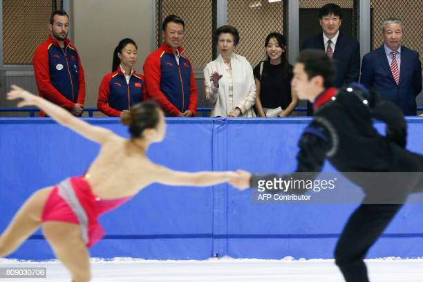 Britain's Princess Anne watches Chinese figure skaters taking part in a practice session at the Capital Stadium in Beijing on July 5 2017 / AFP PHOTO...