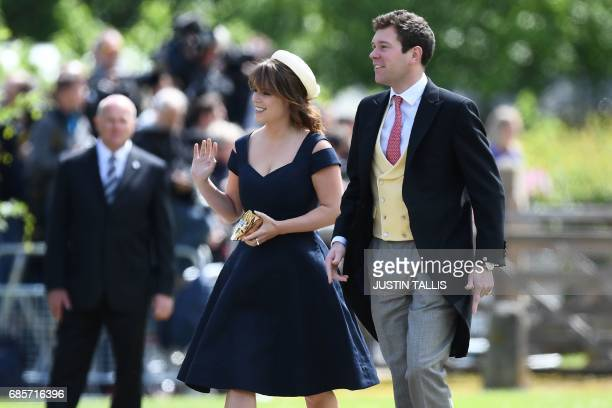 CORRECTION Britain's Princess Eugenie of York attends the wedding of Pippa Middleton and James Matthews at St Mark's Church in Englefield west of...