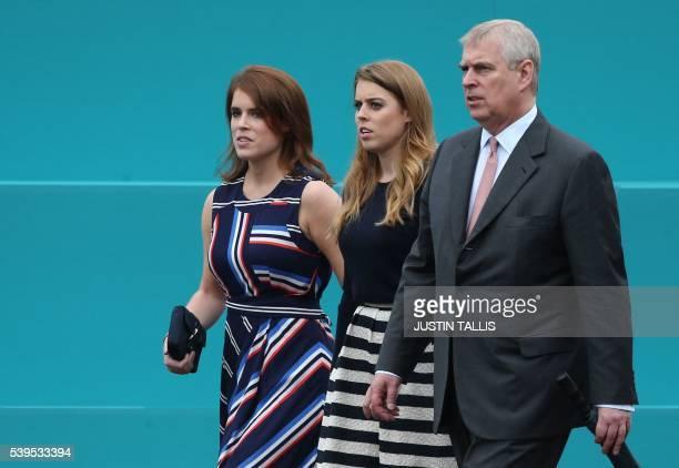 Britain's Princess Eugenie of York Britain's Princess Beatrice of York and Britain's Prince Andrew Duke of York leave Buckingham Palace to meet...
