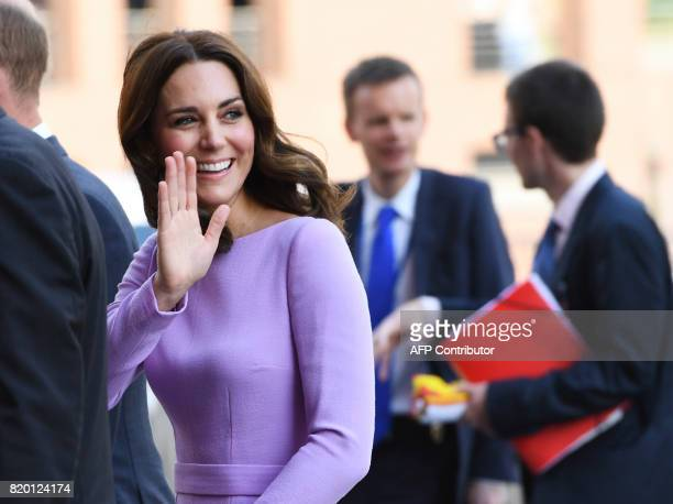 Britain's Princess William Kate the Duchess of Cambridge waves as she arrives to visit the Elbphilharmonie concert hall in Hamburg northern Germany...