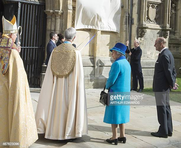 Britain's Queen Elizabeth II and Britain's Prince Philip Duke of Edinburgh unveil two statues of Her Majesty and The Duke of Edinburgh to mark The...