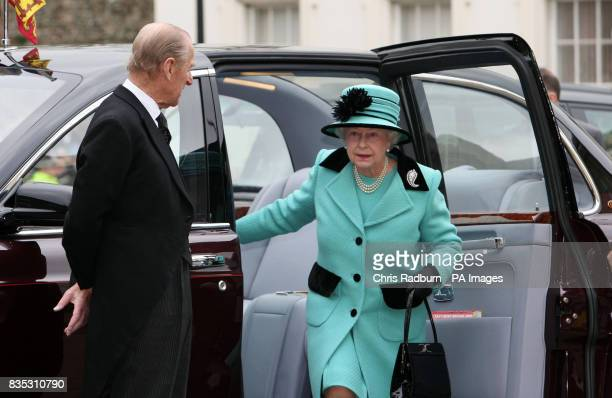 Britain's Queen Elizabeth II and HRH the Duke of Edinburgh arrive at The Subscription Rooms after attending the traditional Maundy Thursday Service...