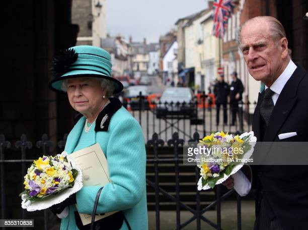 Britain's Queen Elizabeth II and HRH The Duke of Edinburgh leave Bury St Edmunds Cathedral after attending the traditional Maundy Thursday Service at...