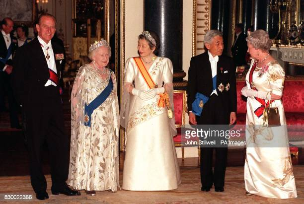 Britain's Queen Elizabeth II and Japanese Emperor Akihito his wife Empress Michiko The Duke of Edinburgh and Queen Elizabeth The Queen Mother pause...