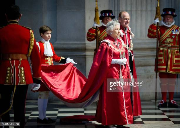 Britain's Queen Elizabeth II and Prince Philip attend a service for the Order of the British Empire at St Paul's Cathedral in London on March 7 2012...