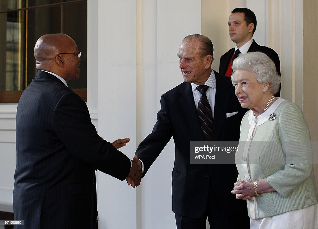 Britain's Queen Elizabeth II (R) and Prince Philip, Duke of Edinburgh (C) bid farewell to South Africa's President Jacob Zuma (L) on the last day of his state visit to the UK at Buckingham Palace on March 5, 2010 in London, England. President Zuma and his wife are visiting the United Kingdom on a three day state visit.
