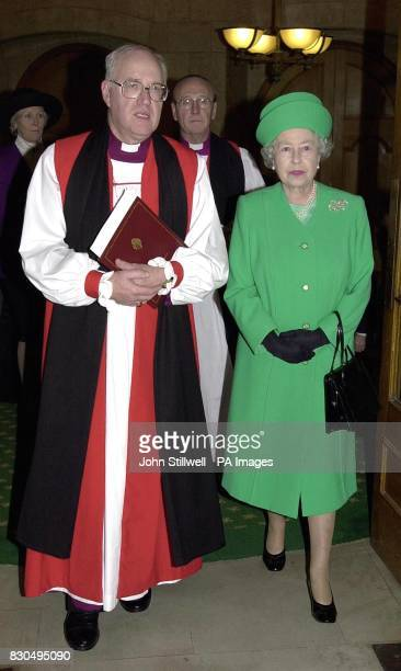 Britain's Queen Elizabeth II and the Archbishop of Canterbury make their way to the General Synod of the Church of England at Church House...