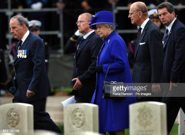 Britain's Queen Elizabeth II and the Duke of Edinburgh at the Tyne Cot War Cemetary Passchendaele during a ceremony for WWI Commonwealth soldiers
