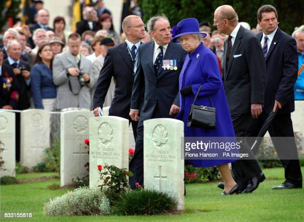 Britain's Queen Elizabeth II and the Duke of Edinburgh visit the Tyne Cot War Cemetery Passchendaele for WWI Commonwealth soldiers