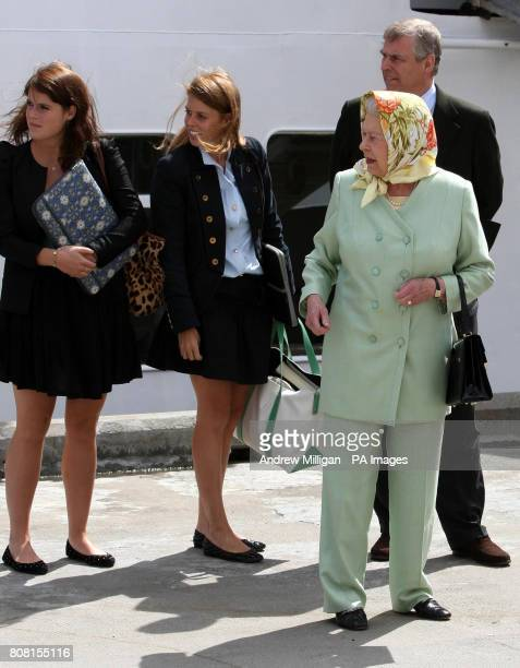 Britain's Queen Elizabeth II and the Duke of York with Princess Eugenie and Princess Beatrice board the Hebridean Princess in Stornoway as they begin...