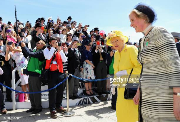 Britain's Queen Elizabeth II arrives ahead of the Investec Derby Festival 2017 at Epsom Downs Racecourse on June 3 2017 in Epsom England