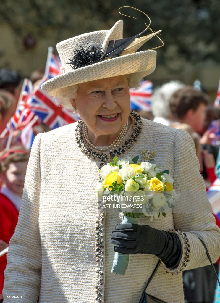 Britain's Queen Elizabeth II arrives at the Chelmsford Cathedral to attend a service as part of the centenary celebrations of Chelmsford Diocese in Chelmsford, Essex, on May 6, 2014.