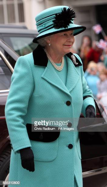 Britain's Queen Elizabeth II arrives at The Subscription Rooms after attending the traditional Maundy Thursday Service at Bury St Edmunds Cathedral...