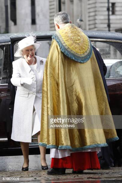 Britain's Queen Elizabeth II arrives at Westminster Abbey in central London 19 November 2007 Royal family and friends gathered in Westminster Abbey...
