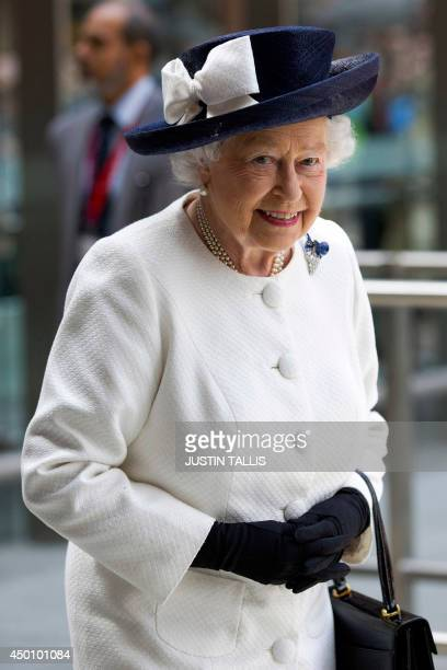 Britain's Queen Elizabeth II arrives to unveil a plaque marking the 20th anniversary of the opening of the Channel Tunnel and the launch of...