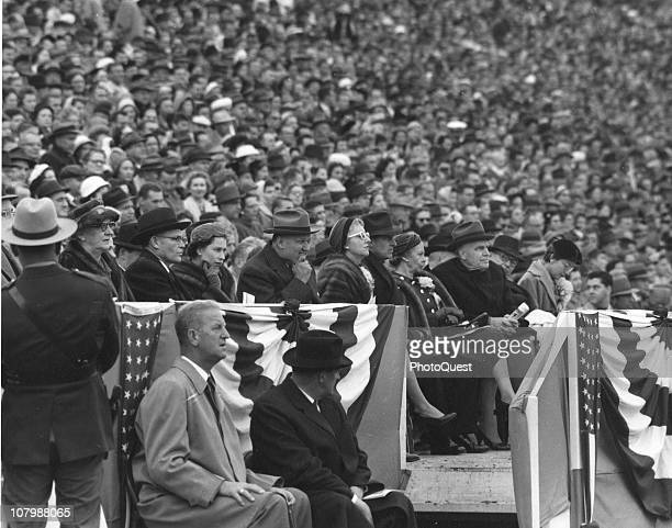 Britain's Queen Elizabeth II attends an American college football game at Byrd Stadium on the campus of the University of Maryland College Park...