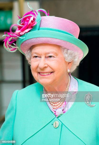 Britain's Queen Elizabeth II attends an engagment where she officially opened Westminster School's new Sports Centre in London on June 12 2014 AFP...